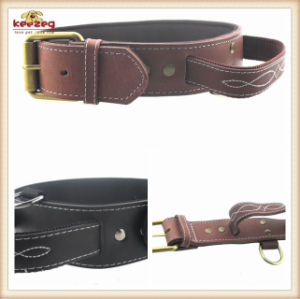 High Quality Real Leather Durable Dog Collar for Big Pets (KC0043) pictures & photos