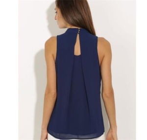 Europe and The United States Chiffon T-Shirts Hanging Neck Sleeveless Vest (17003) pictures & photos