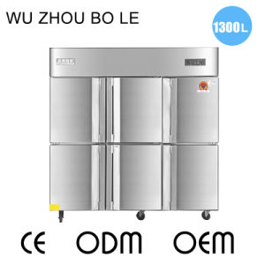 Double Temperature Six Swing Doors Kitchen Refrigerator with Universal Casters