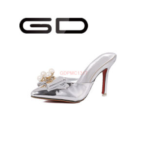 Close Toe Gold and Silver Slippers High Heel Slippers Shoes pictures & photos