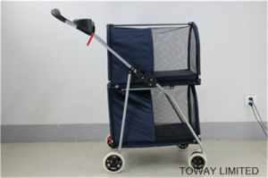 Customize Pet Accessories 4 Wheels Double Layer Dog Strollers pictures & photos