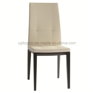 White Wooden Dining Armless Leather Chair for Restaurant (SP-EC738) pictures & photos