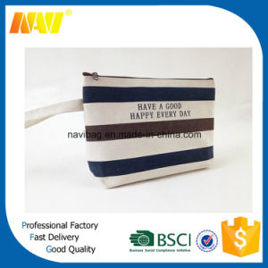 Striped Simple Hand Lady Canvas Cosmetic Bag pictures & photos