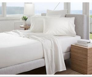 Plain White Cotton Economic Hotel Linen Bed Sheet pictures & photos