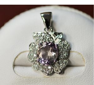 925 Silver Pendant with Pink Amethyst (LMO1015)