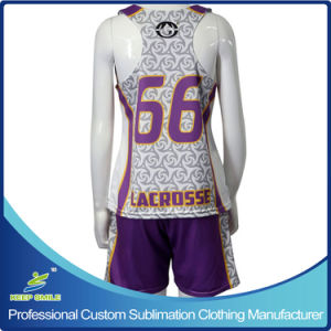 Custom Sublimation Girl′s Lacrosse Sports Clothes with Race Back Reversibles and Short pictures & photos