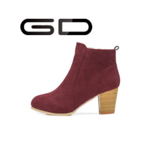 Fashion Lady Wooden Heel Cool Leather Boot Women Casual Shoes pictures & photos