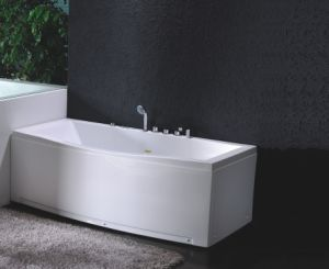 Corner Drainage Skirted Whirlpool Bath Tub with Massage System pictures & photos