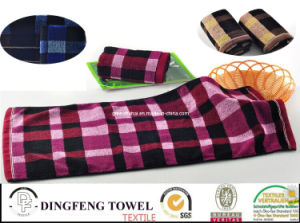 Hot Sell Dyed Yarn Jacquard Towel Set Df-5818 pictures & photos