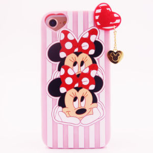 3D Cartoon Double Head Minnie Silicone Case for iPhone 6 6plus 7 7plus Cute Soft Silicon (XSDW-090)