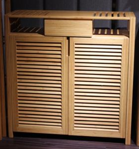 Bamboo Shoe Rack / Shoe Cabinet with Door for Home Furniture pictures & photos