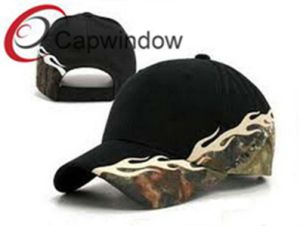 Flame Embroidered Black Fashion Leisure Sport Racing Baseball Cap pictures & photos