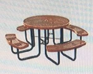 46-Inch Expanded Metal Round Picnic Table Metal Fabricated pictures & photos