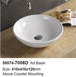 Hotel Bathroom Round Ceramic Wash Basin (30074) pictures & photos