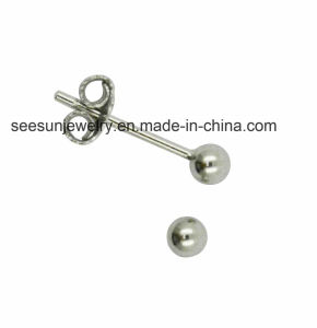 925 Silver Jewelry Plain Silver Earring Ball pictures & photos