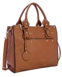 High Quality PU Leather Double Pocket Women Handbag Business Bag pictures & photos