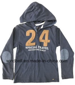 Cotton Hoodies T Shirt for Boy with Number Twill Patch pictures & photos