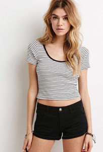 Hot Sale Cotton Striped O-Neck Short Sleeve T Shirt pictures & photos