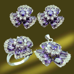 Valentine′s Day Gift Purple Flower Custom Jewelry Set (RSA5099)