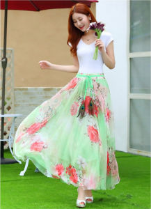 Floral Printed Umbrella Long Skirt with Falbala pictures & photos