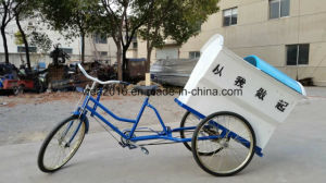 Three Wheel Tandem Manual Tricycle for Adults Collecting Garbage pictures & photos