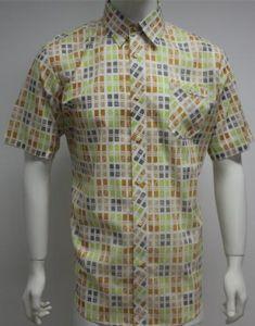 Man′s Print Short Sleeve Shirts HD0075