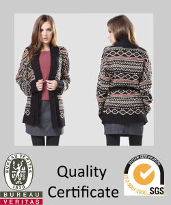 Ladies Knitted Jacquard Cardigan Sweater for Fall′2015