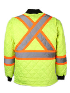 Hi-Vis Yellow Working Safety Winter Thermal Warm Quilted Freezer Jacket with Reflective Tape pictures & photos