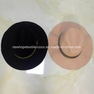 Fashion Large Brim Fake Wool Fedora or Floppy Hat with Ribbon pictures & photos