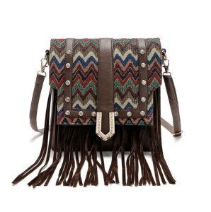 Women′s Wholesale Leather Shoulder Bag with Tassel Women Bag