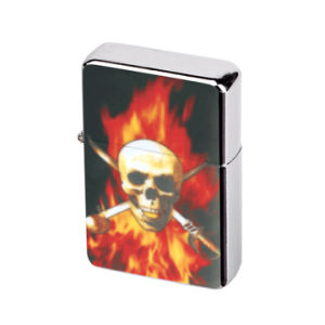 Skull Chrome PVC Emblem Metal Promotional Oil Lighter