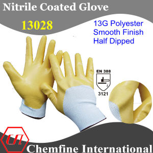 13G White Polyester Knitted Glove with Yellow Nitrile Smooth Coating pictures & photos