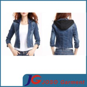 Suit Style Black Hoodies Denim Jacket for Girl (JC4077) pictures & photos