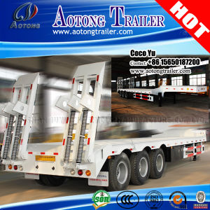 3-Axle 13meters Digger Cargo Transporting Lowbed Truck Trailer pictures & photos