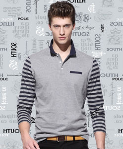 Factory Custom Long Striped Sleeves Plain Casual Men′s Polo Shirt pictures & photos