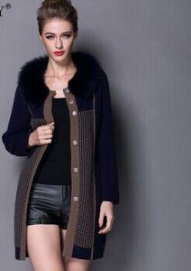 2014 Winter Women Warm Fur Coat Long Mink and Wool Cashmere Cardigans Fox Fur Collar Overcoat Ladies Warm Mex #C14606 pictures & photos