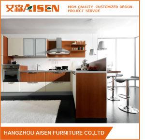 Orange Vinyl Wrapped PVC Membrane Kitchen Cabinet pictures & photos