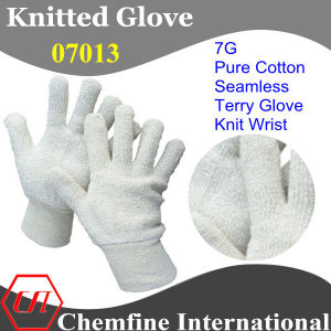 7g White Pure Cotton Terry Knitted Glove with Knit Wrist pictures & photos