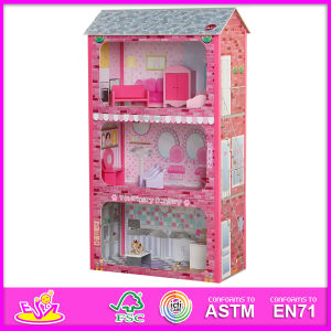 2014 New Cute Wooden Dollhouse Toy, Popular Lovely Children Dollhouse Toy, Hot Sale Pink Color Wooden Baby Dollhouse Toy W06A045 pictures & photos
