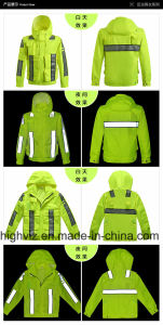 Reflective Safety Rain Jacket with ANSI107 Certificate (C2445) pictures & photos