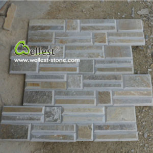 Beautiful Z Shape Yellow Wood Slate Ledge Stone Feature Wall with Best Price pictures & photos
