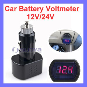 3 Digit LED Display DC 12V/24V Fit Most Car Voltmeter in Cigarette Lighter pictures & photos