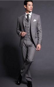 Gray Men′s Suits Wedding Groom Tuxedo Formal Suit Mic2015 pictures & photos