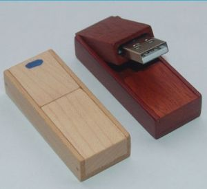 Wooden Swivel USB Flash Drive with Laser Engraved Logos pictures & photos