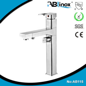 CE Certificate Ceramic Cartridge Square Kitchen Faucets Stainless Steel 3 Flow Taps Mixers (AB115)