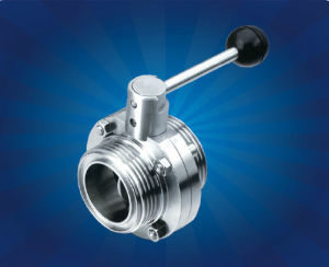 Sanitary Threaded Butterfly Valve with Pull Rod Handle pictures & photos