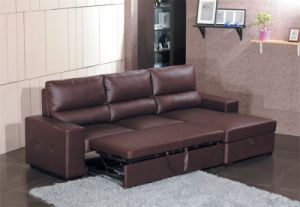 Furniture Extended Leather Sofa Bed (712#) pictures & photos