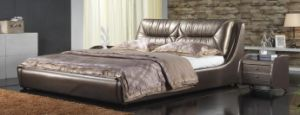 French Style Bedroom Set- Leather Bed with Crystal Decoration (6019) pictures & photos