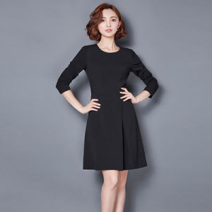 Slim Fit Sleeveless Round Neck Patch Work Ladies Official Dresses pictures & photos