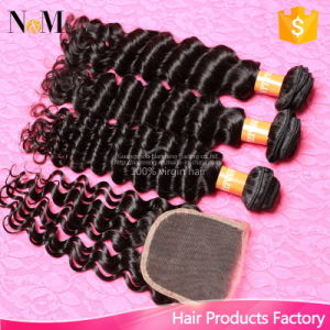 Indian Curly Hair with Closure 6A Unprocessed Indian Virgin Hair with Closure Human Hair Bundles Deep Wave with Lace Closure pictures & photos